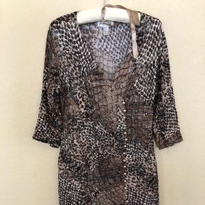 Joesph Ribkoff Leopard Print Faux Wrap Dress